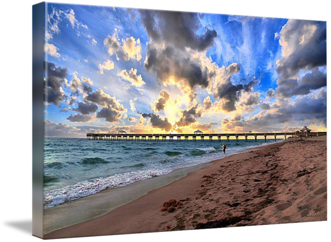 Drawing beach seascape. Juno pier florida sunrise