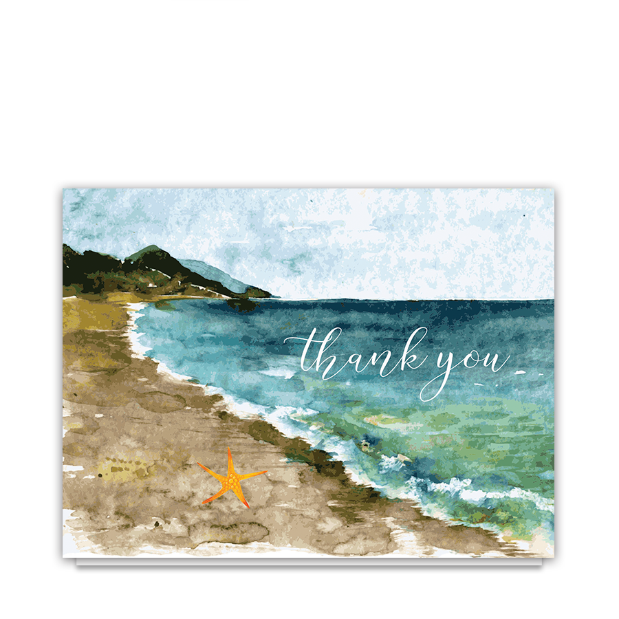 Drawing beach watercolor. Painting thank you transprent