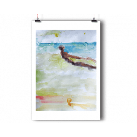 Drawing beach watercolor. Anoellejay the shop miami