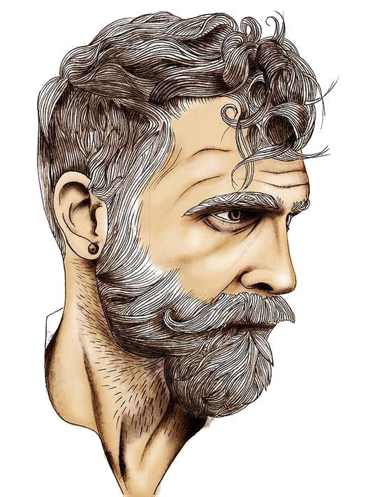 Drawing beard sketch. Art white bearded man