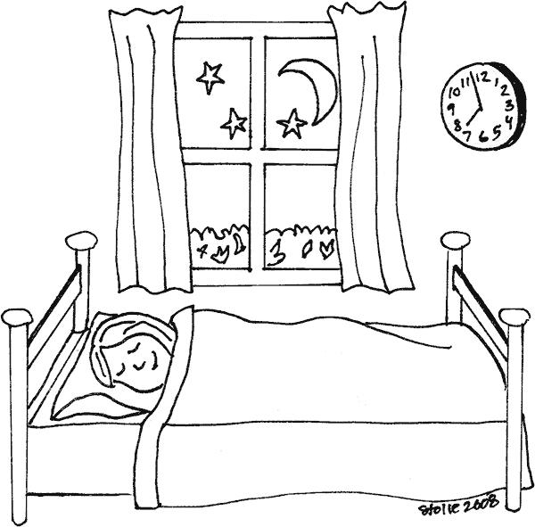 Drawing bed colouring. Objects printable coloring pages