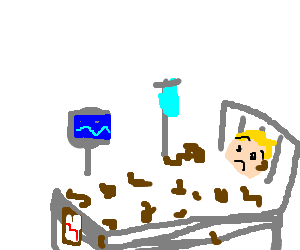 Drawing bed hospital. Sheets covered in poop