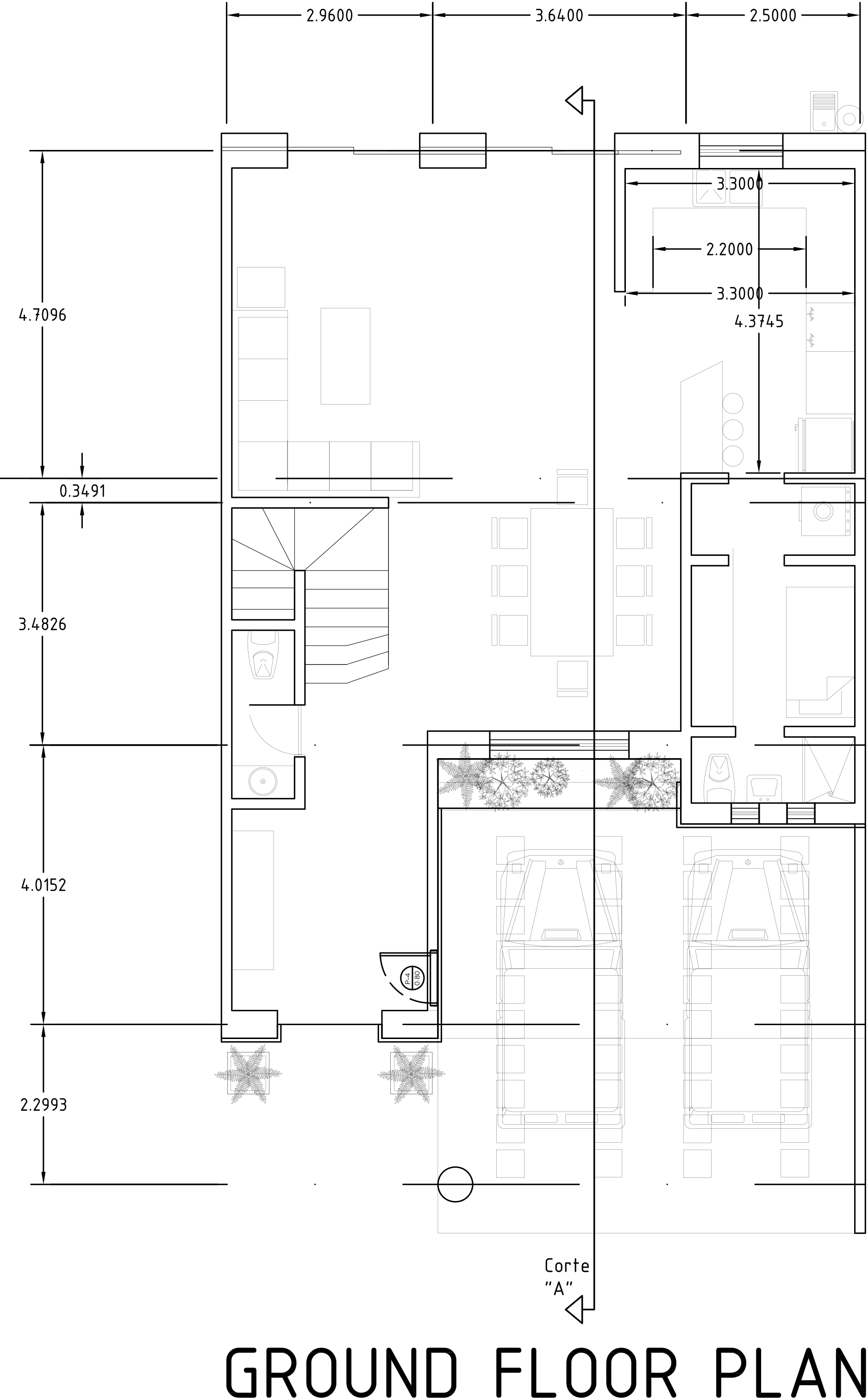 Drawing plan ground floor. Three bed room double