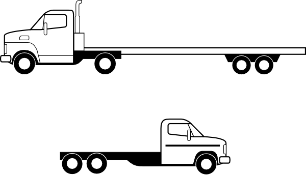 Drawing bed side view. Collection of truck
