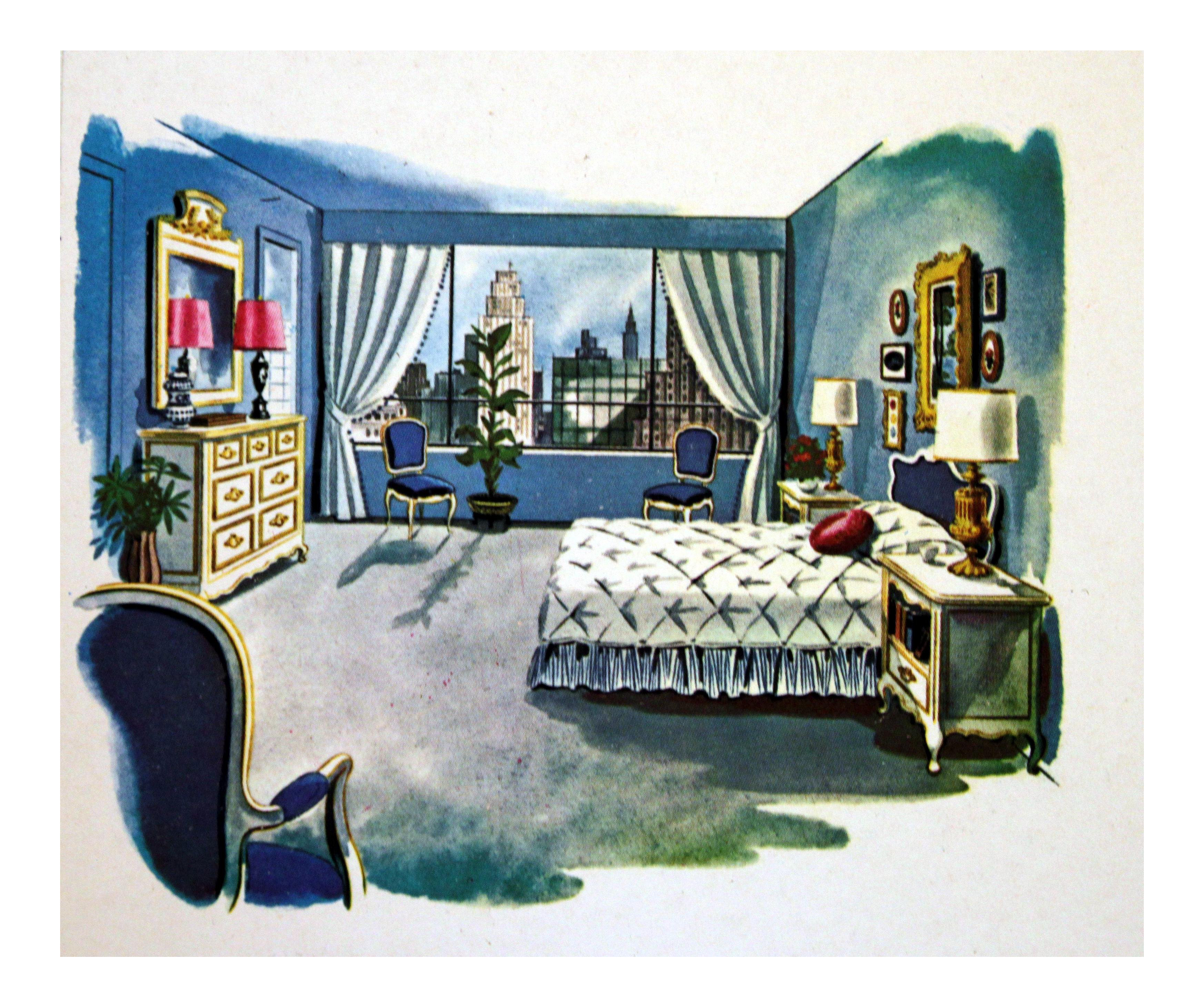 Dishes drawing bedroom. S illustration chairish