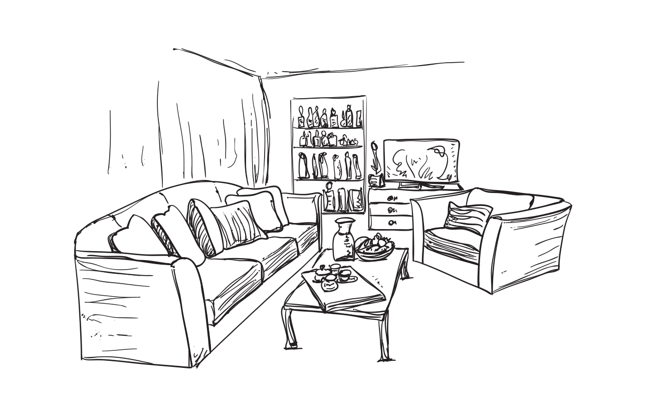 Drawing bedroom sketch. Living room couch interior