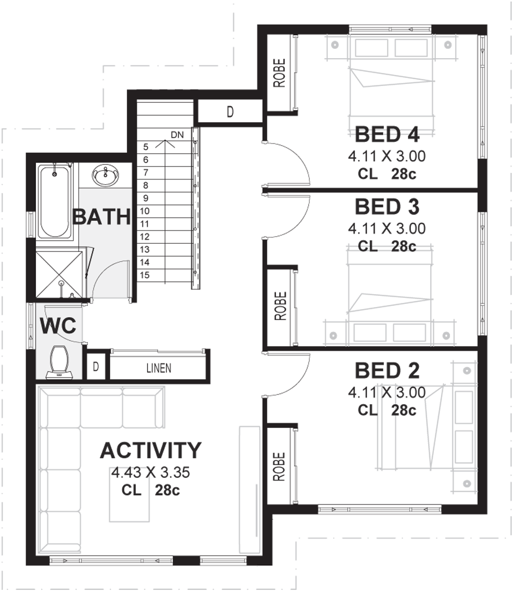 Drawing bedroom two. Storey house plans