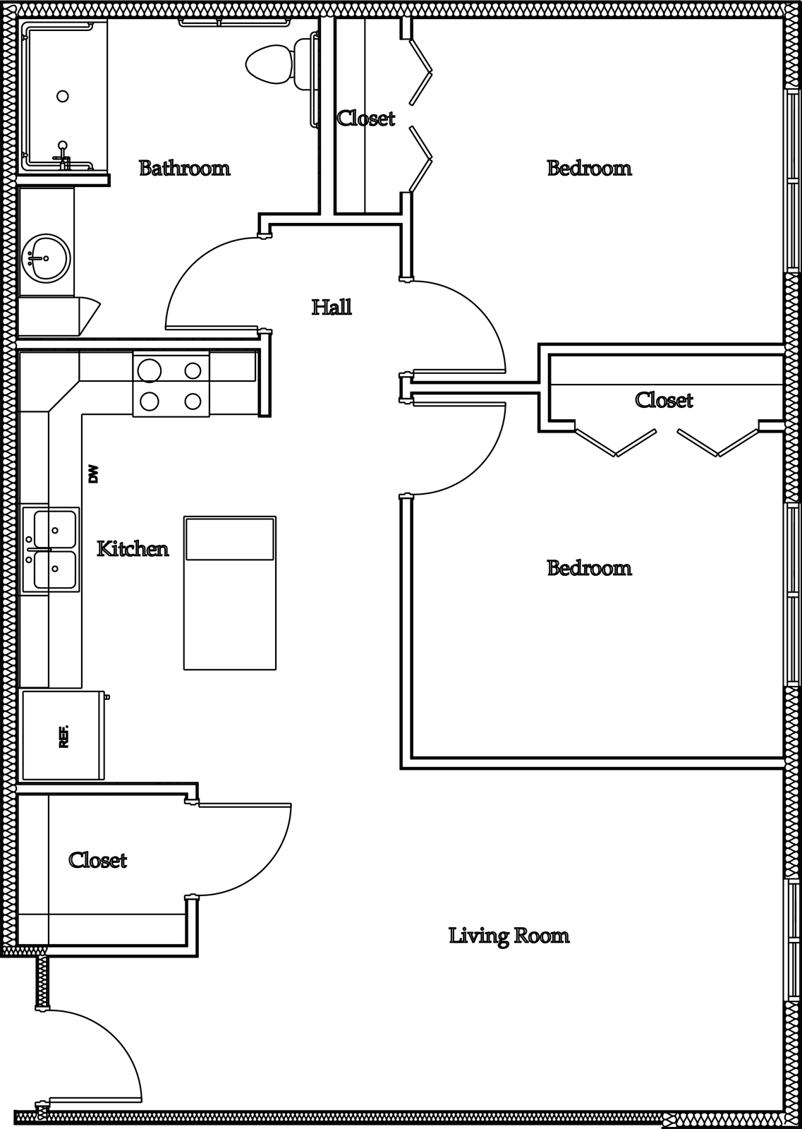 Drawing bedrooms background. Floorplans the courtyard apartments