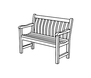 Drawing benches. Seat garden white