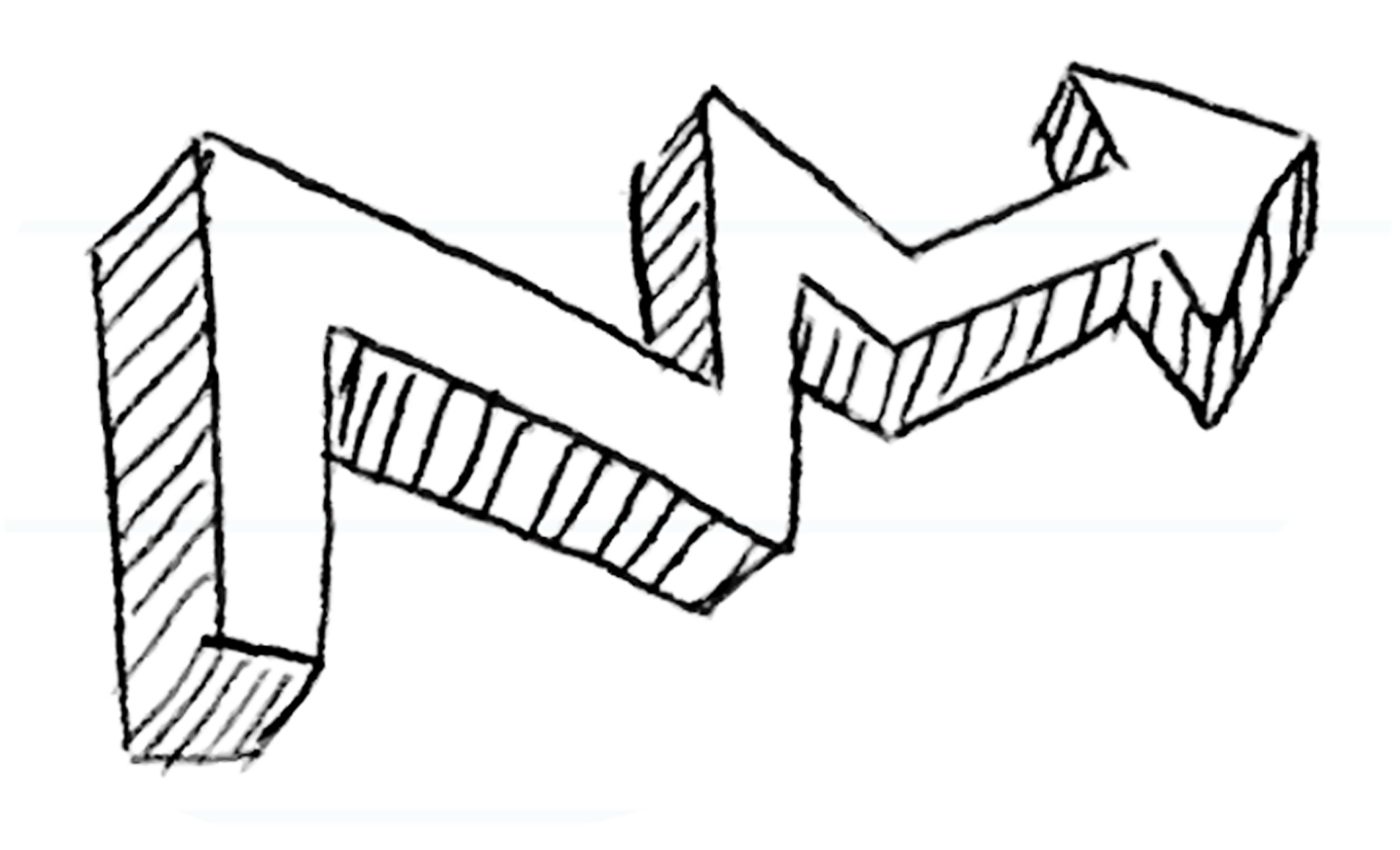 Drawing benches chain. Arrow polygonal hand painted