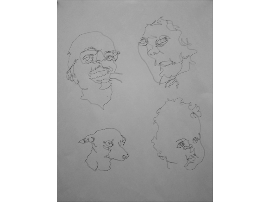 Drawing blind. Composition contour and is