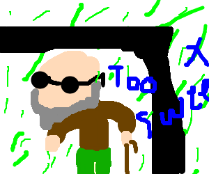 Drawing blind old. Man walks out of