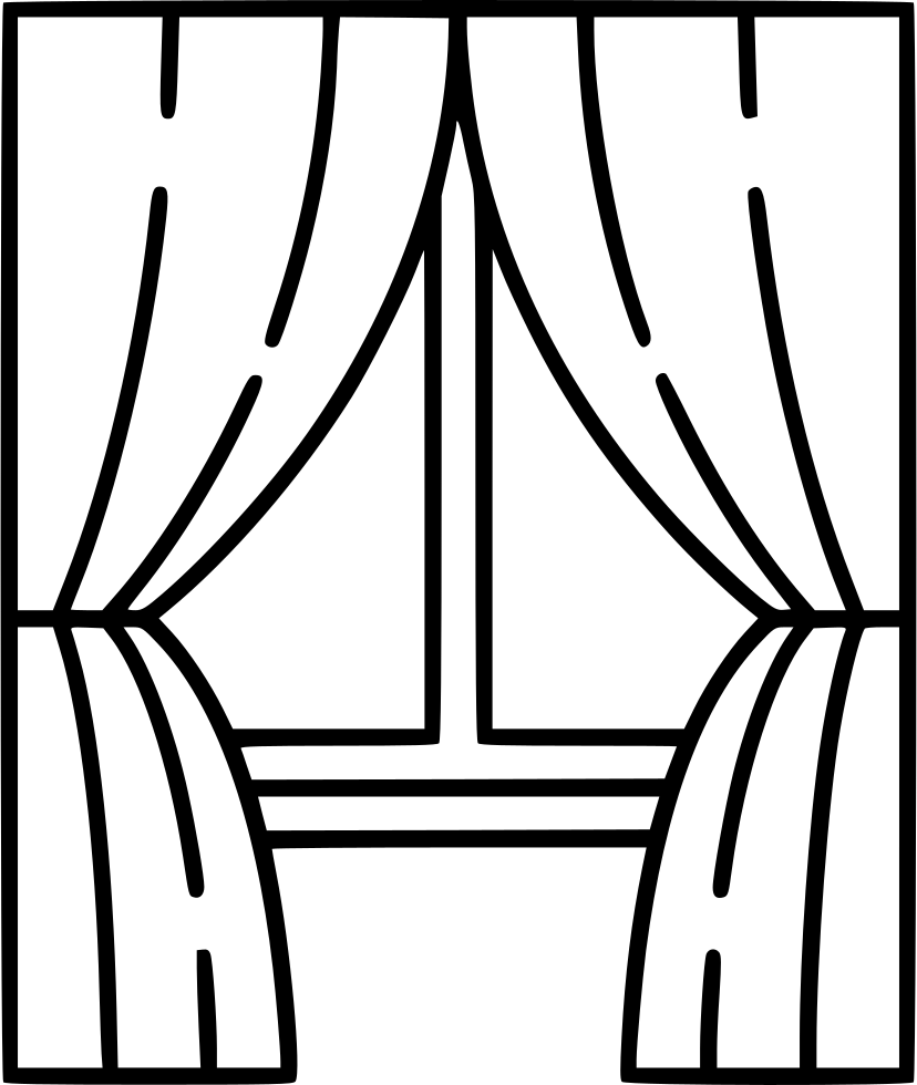 Drawing blind windows. Window with curtains at