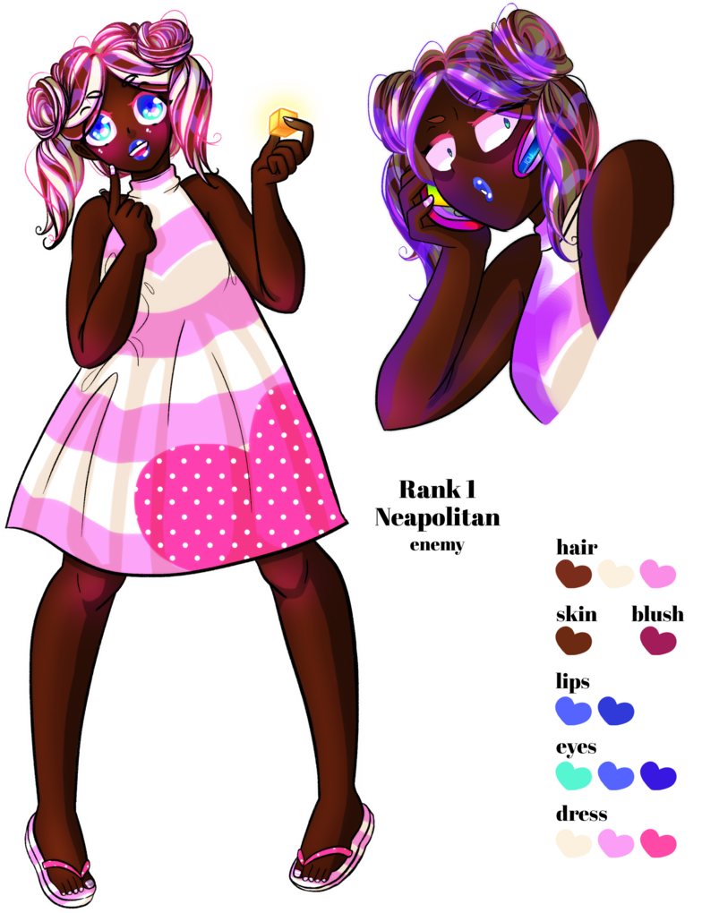 Drawing blush reference. Neapolitan color art by