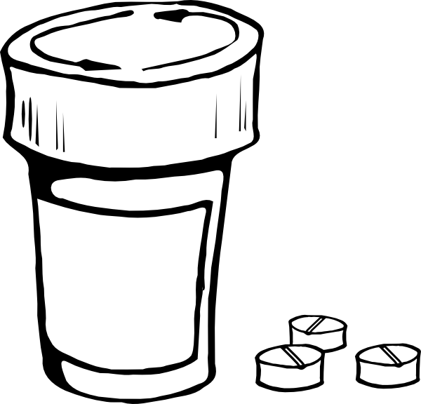 Drawing bottles. Pills and bottle clip