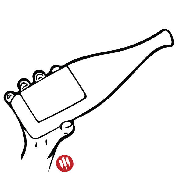 Drawing bottles hand holding. Wine etiquette tips