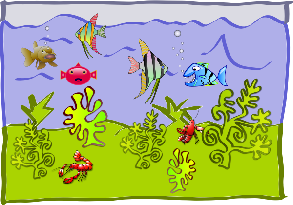 Drawing boys creative. Aquarium for kids at