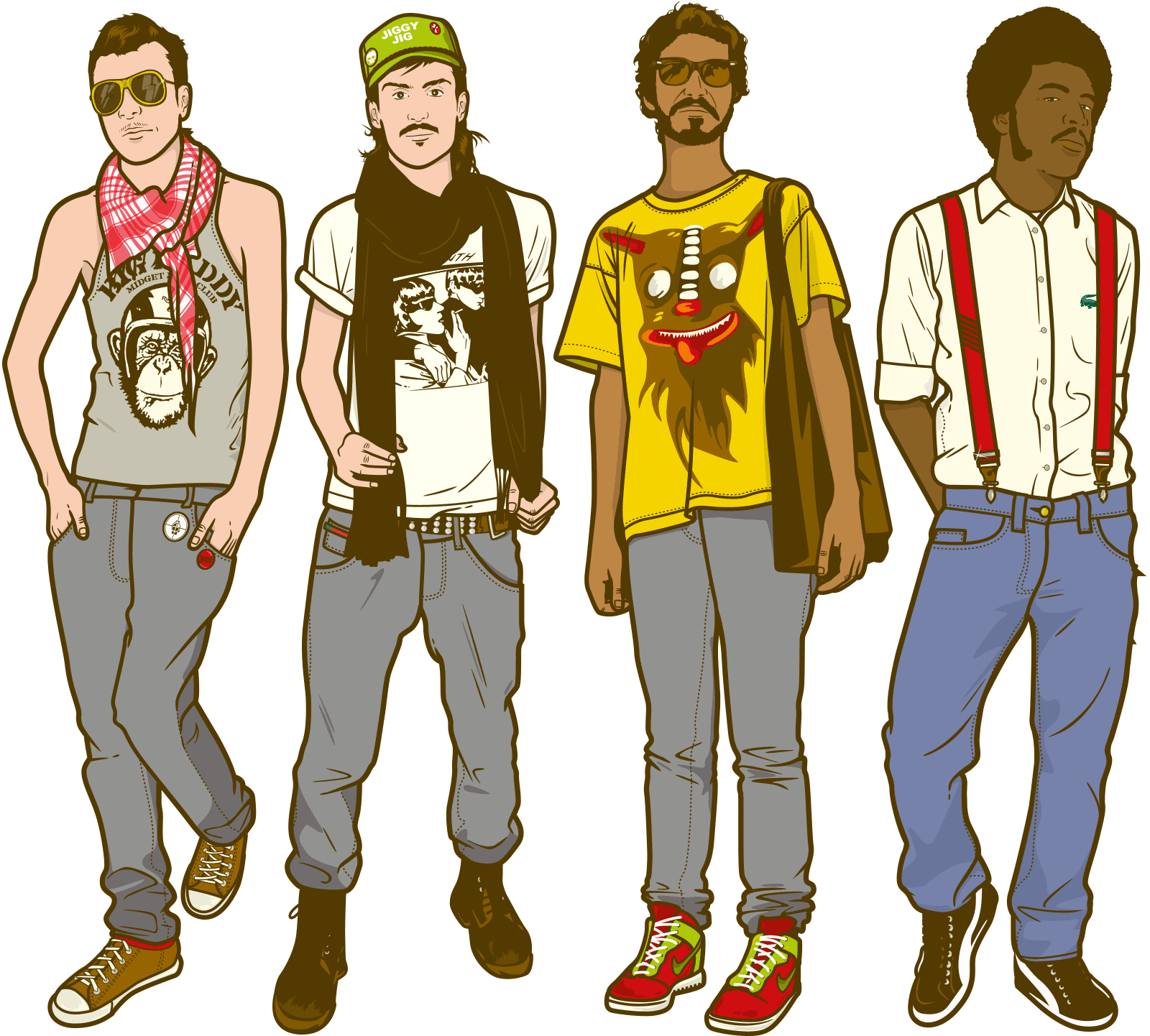 Character illustration mega artworks. Drawing boys hipster picture transparent library