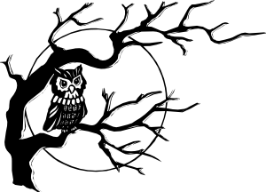 Drawing branches simple. Owl on tree branch