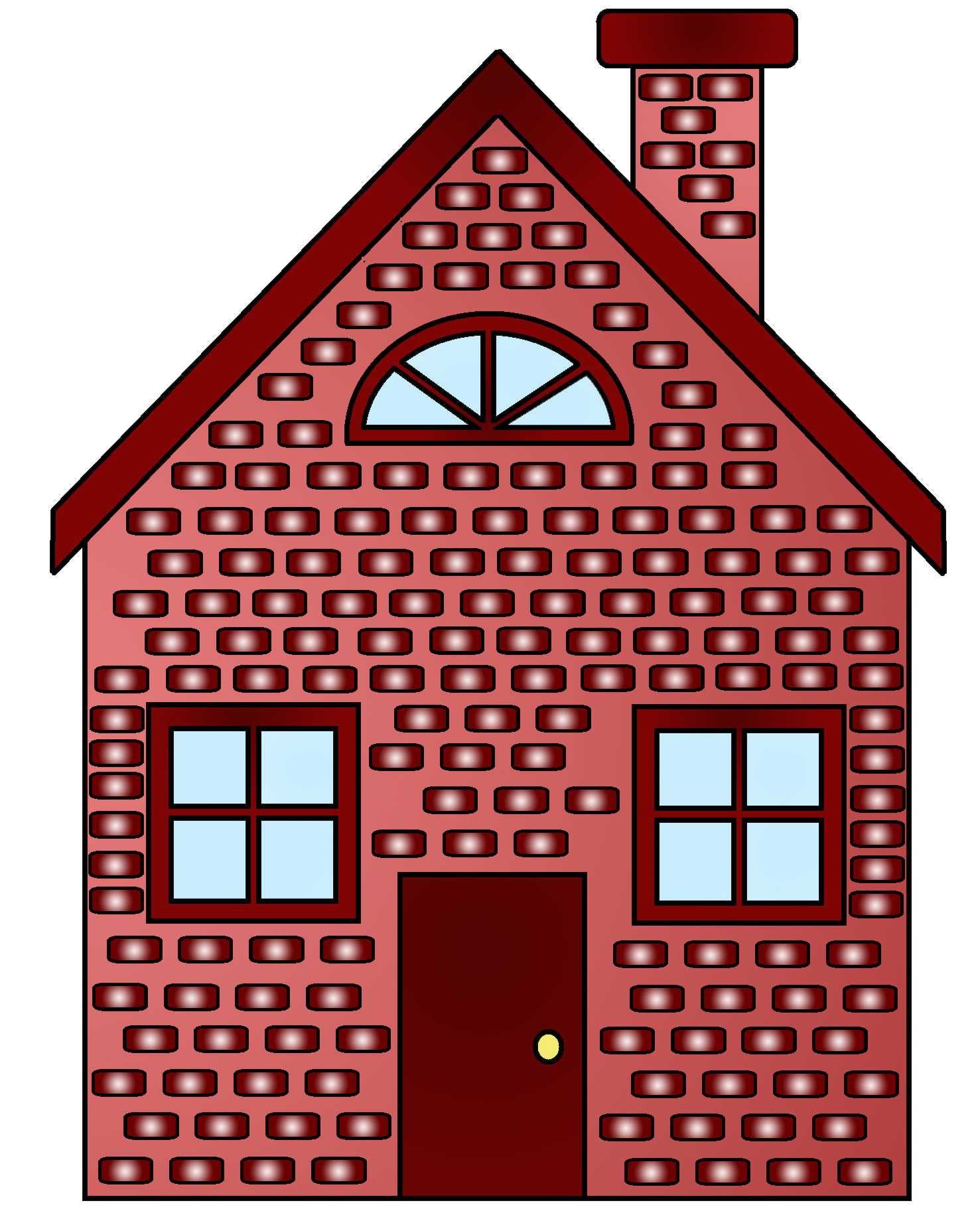 Drawing bricks brick house. Collection of red