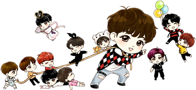 Drawing bts chibi. Fan art transprent png