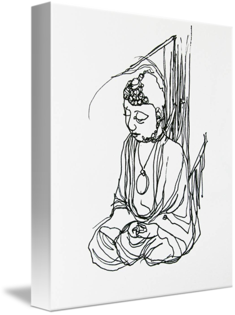 Drawing buddha canvas. By aaron nathan