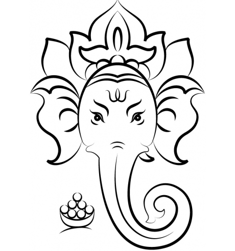 Chariot drawing ganesha. Close up view of