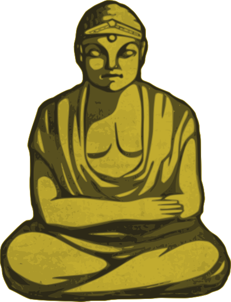 Golden clip art at. Buddha clipart yellow png black and white