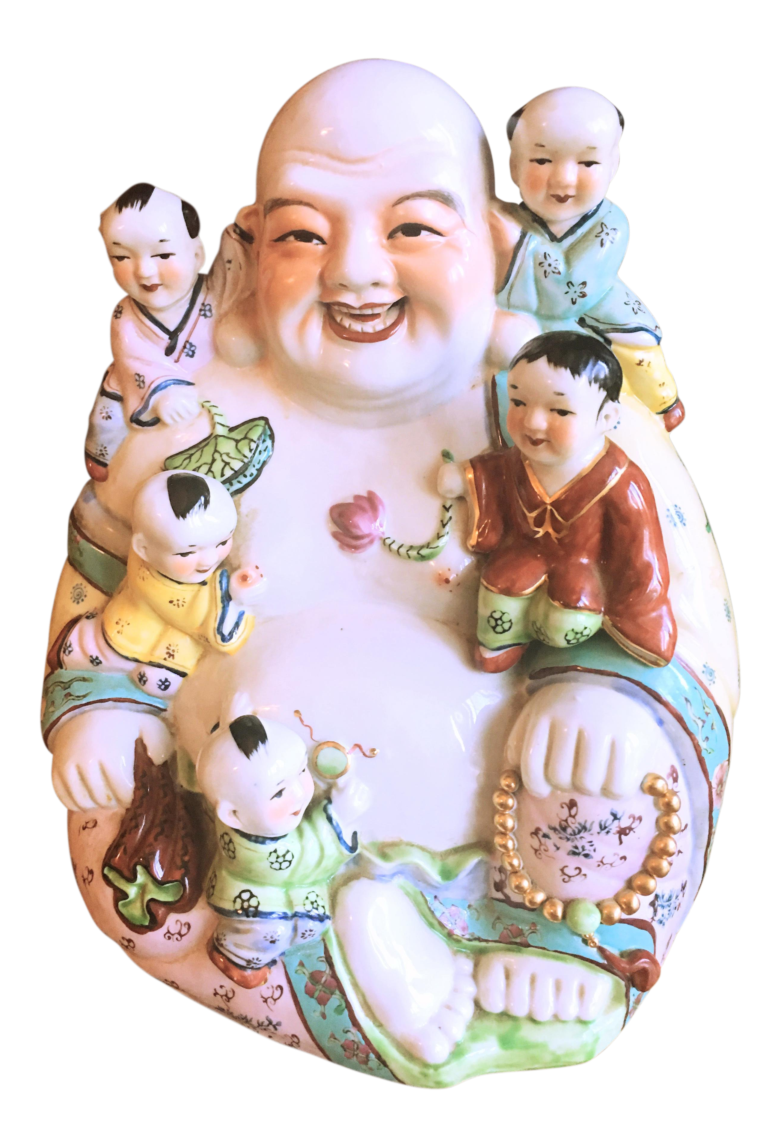 Drawing chinese laughing buddha. Large ceramic with children