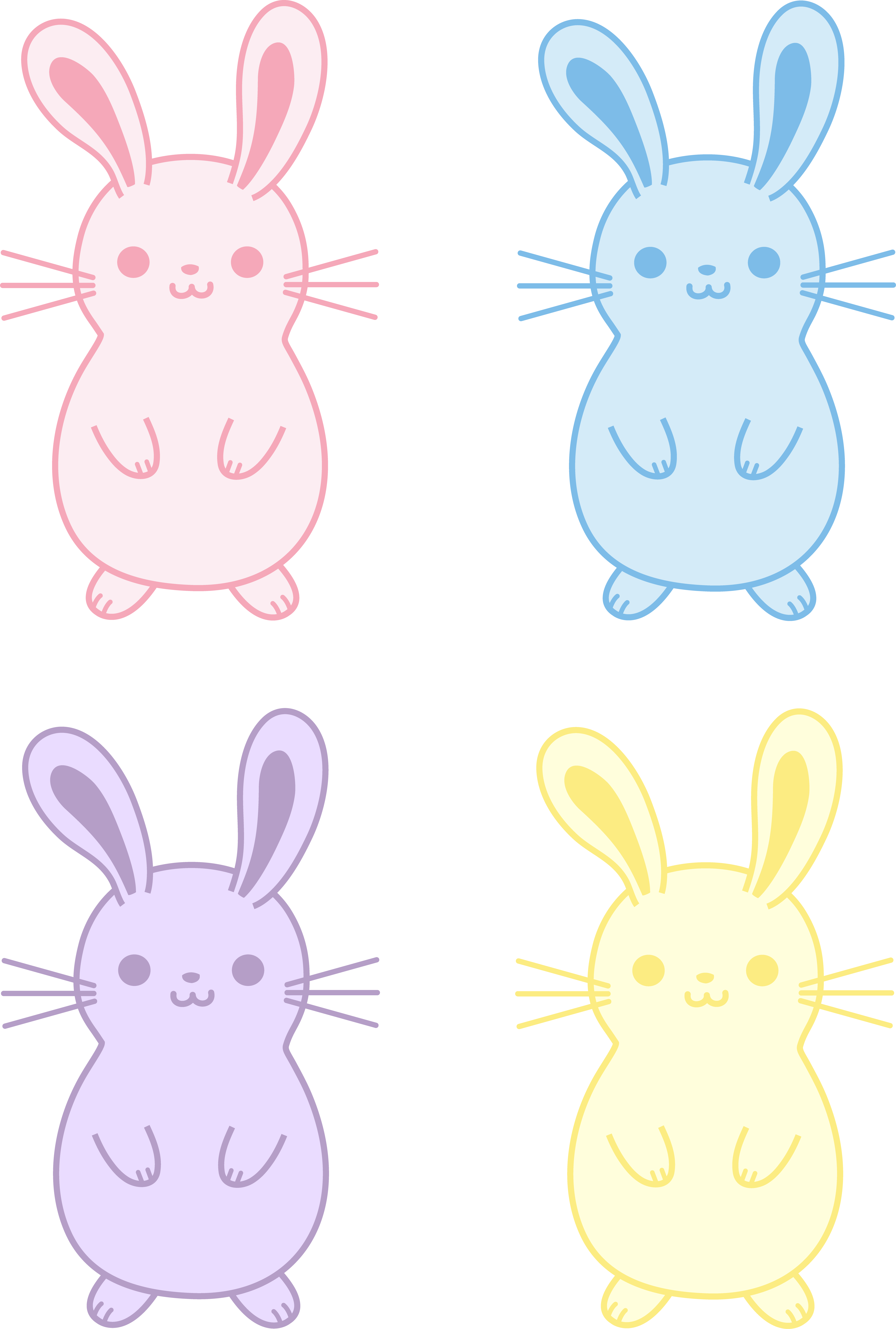 Drawing bunnies baby bunny. Set of four cute