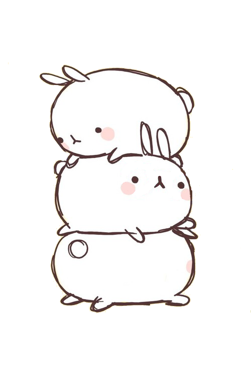Drawing bunnies kawaii. Image about white in