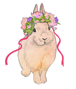 Easter bunny in bonnet. Rabbits drawing minimalist clip art free download