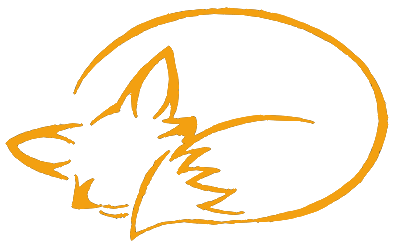 Semicolon drawing fox. Minimalist outline foxes drawings