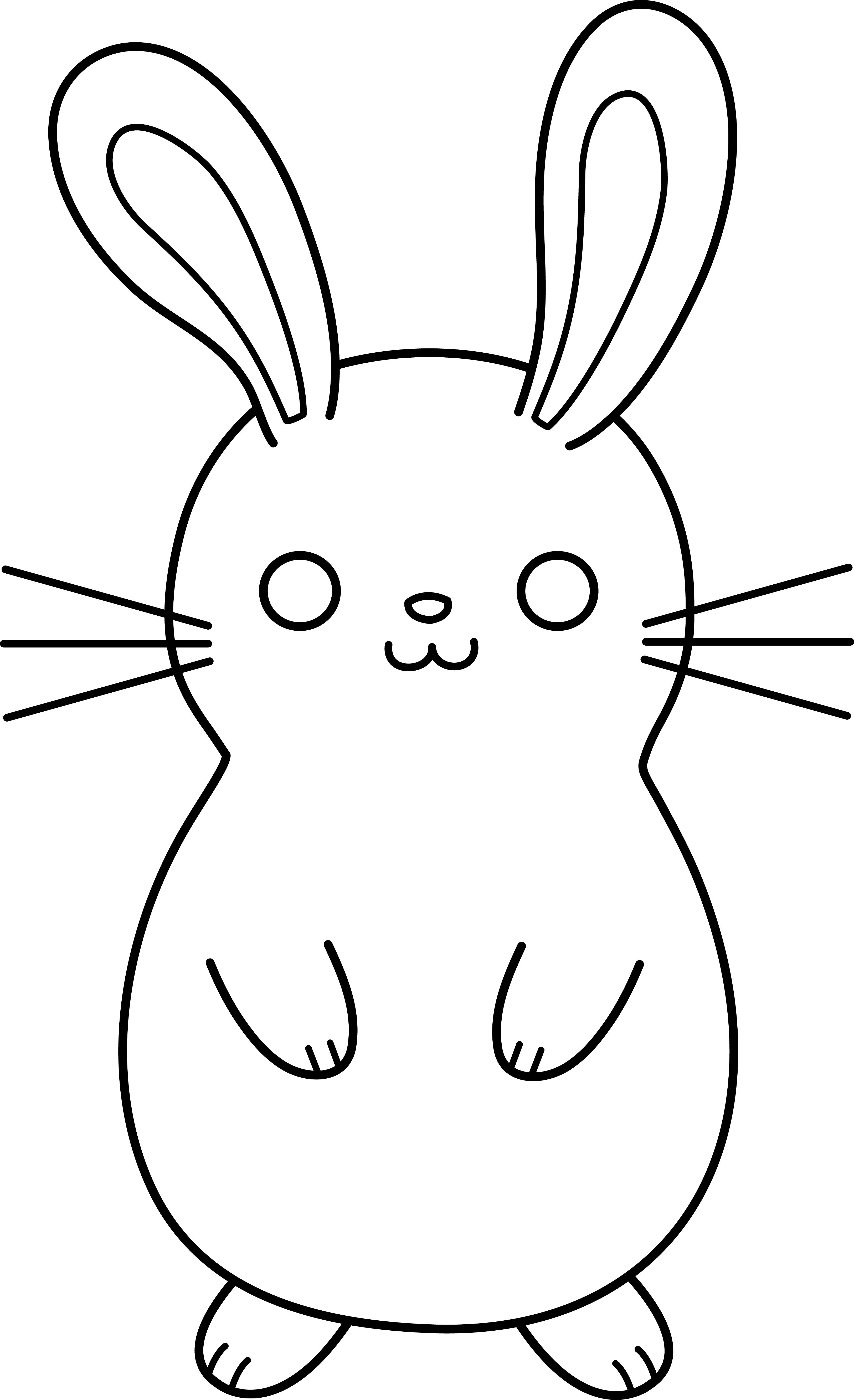 Drawing bunnies small. Cute colorable easter bunny
