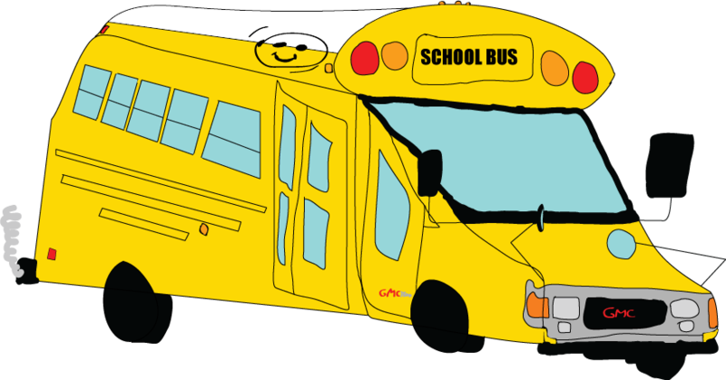 Drawing bus. A of school transparent