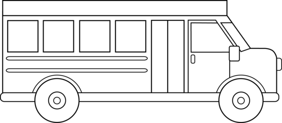 Drawing buses. School bus outline coloring