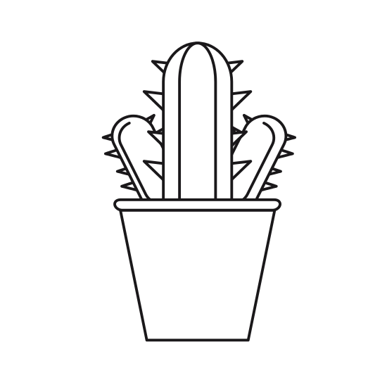 Drawing cactus pen. In a pot icon