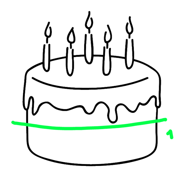 Drawing cake piece. How to cut a
