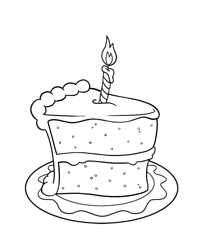 Drawing cake slice. Collection of birthday