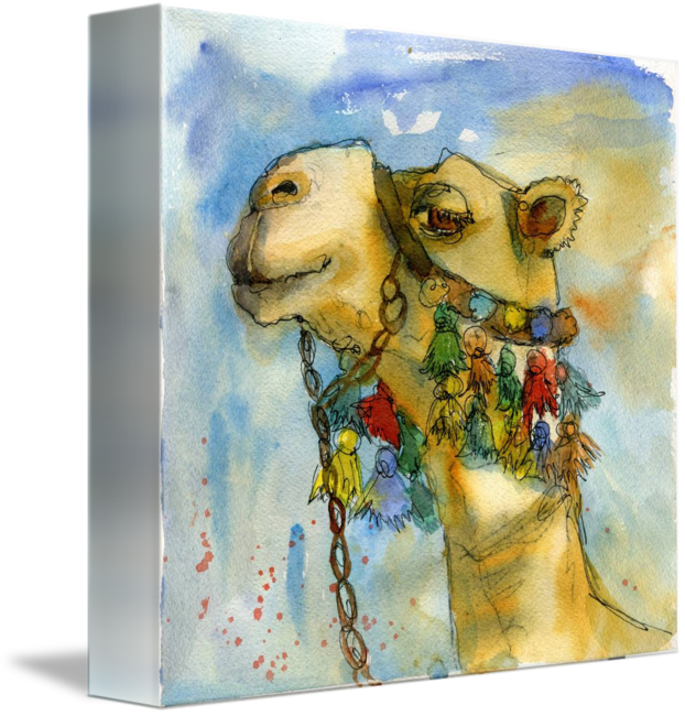 Drawing camels decorative. Watercolor print camel painting