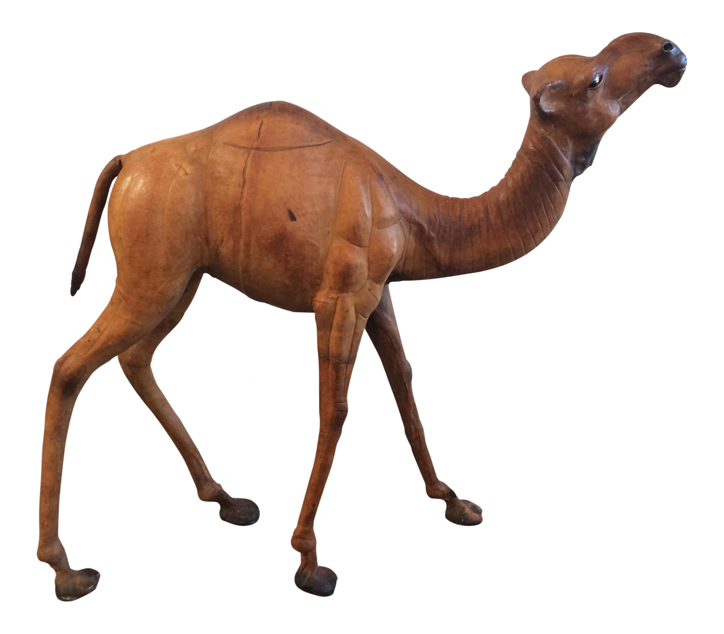 Drawing camels decorative. Vintage leather camel statue