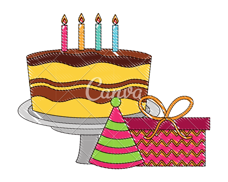 Drawing candles cake. Birthday with and gift