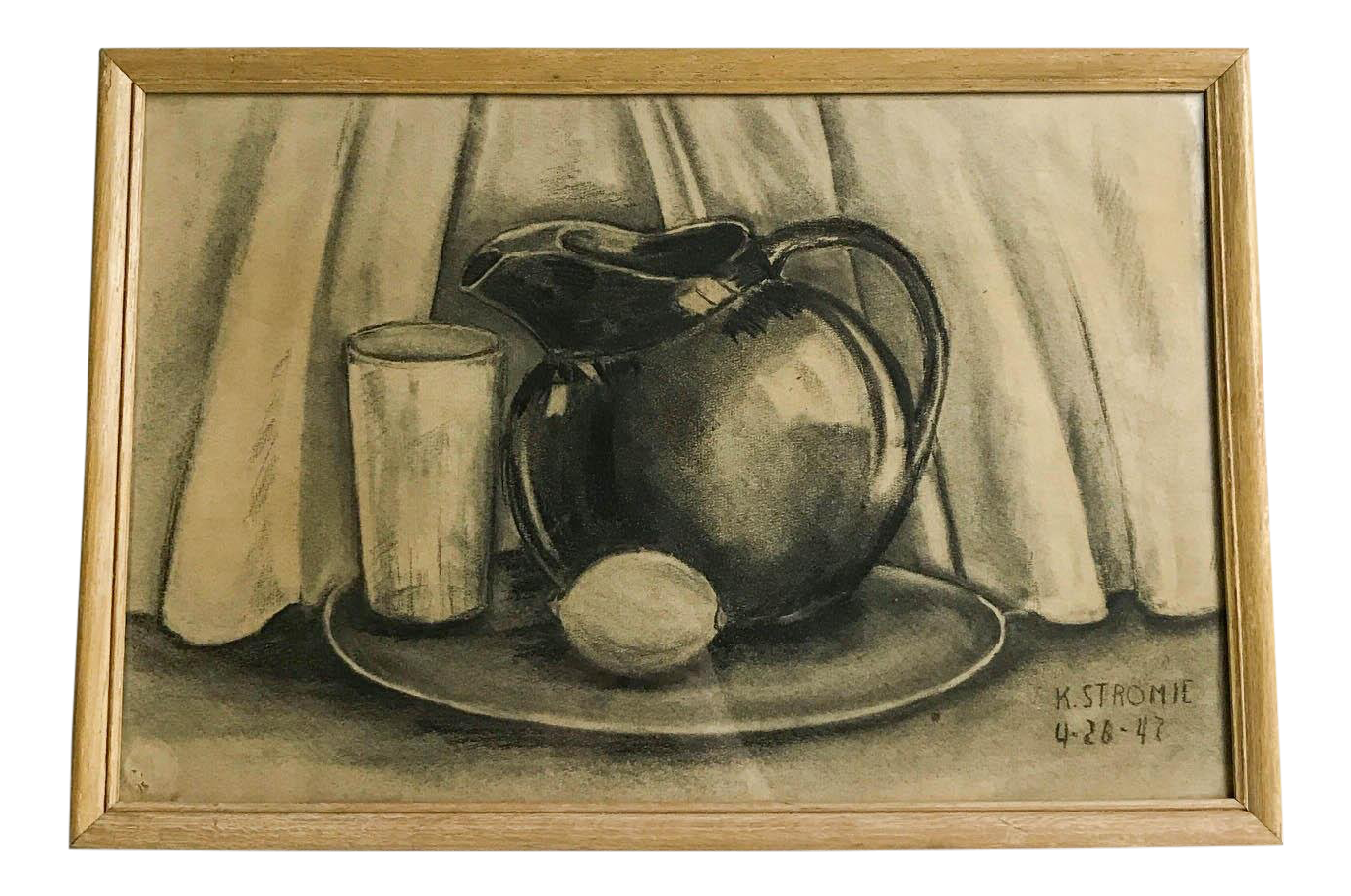 Drawing candle charcoal. S vintage framed