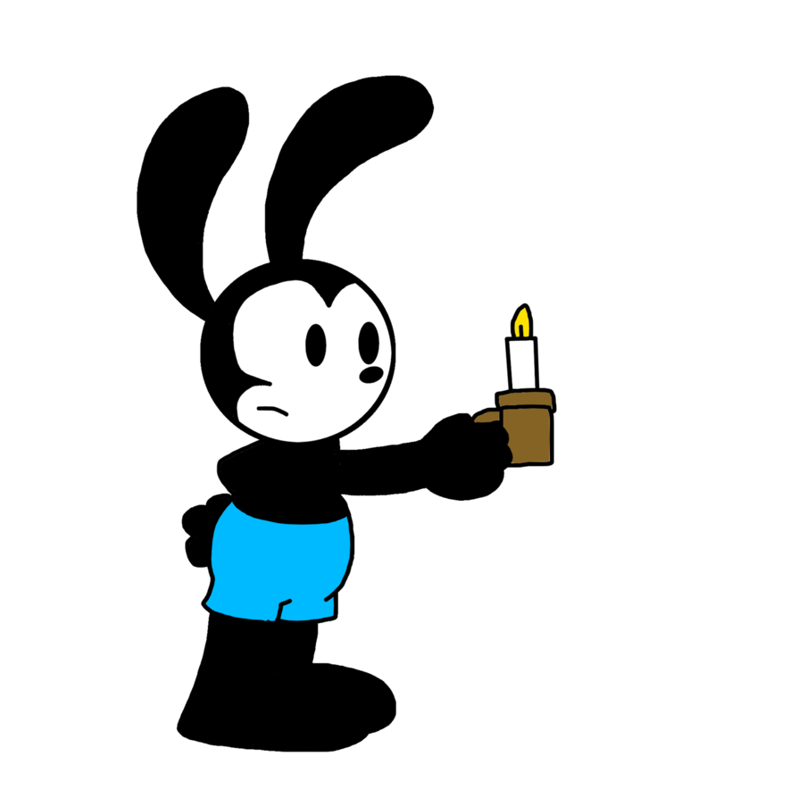 Drawing candle comic. Oswald holding a by