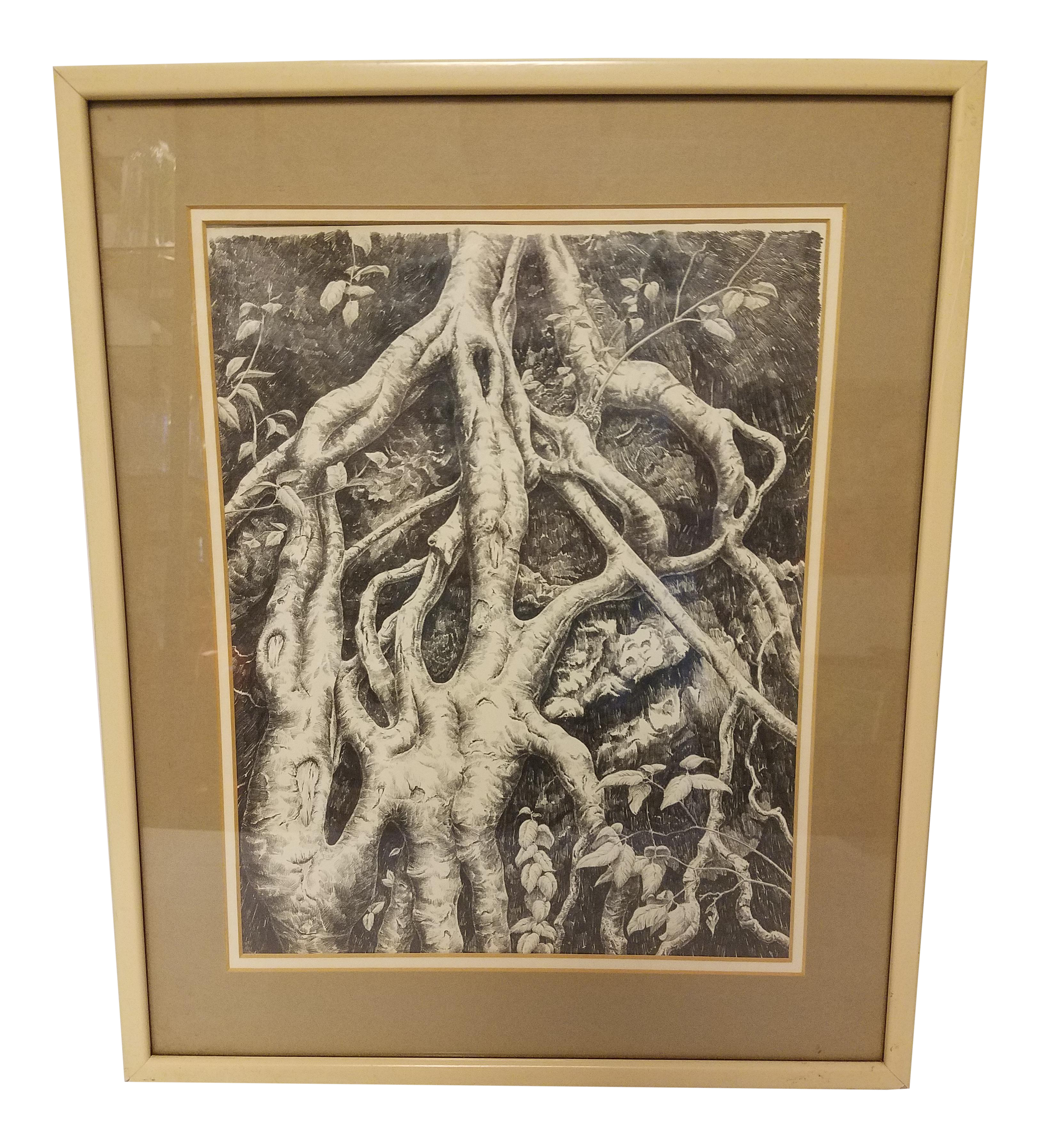 Drawing candles graphite. Tree root system chairish
