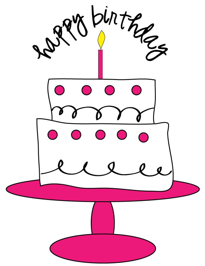 Drawing candle happy. Birthday cake clipart at