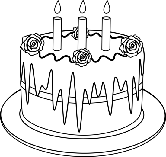 Drawing candle happy. Outline of birthday cake