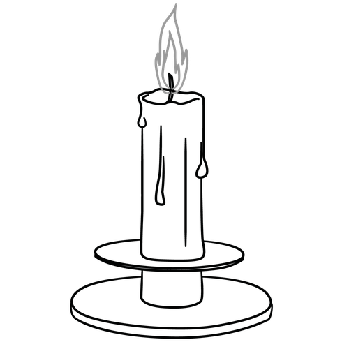 Drawing candle holder. Bread clipart