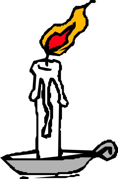 Drawing candle lighted. Burning clip art at