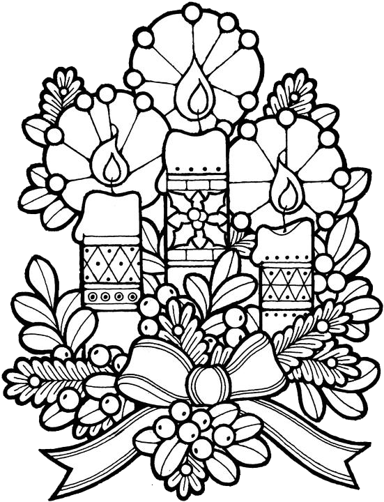 Drawing candles colour. Christmas colouring page adult